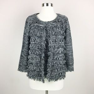 T Tahari Two Piece Fringe Knit Blazer & Top M